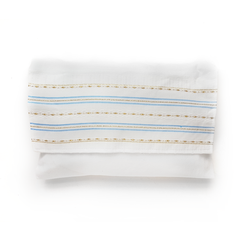 Cotton Gabrieli Tallit - Light Blue with Gold