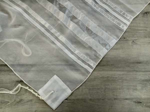 NEW - Lady Gabrieli Tallit - Voile with White