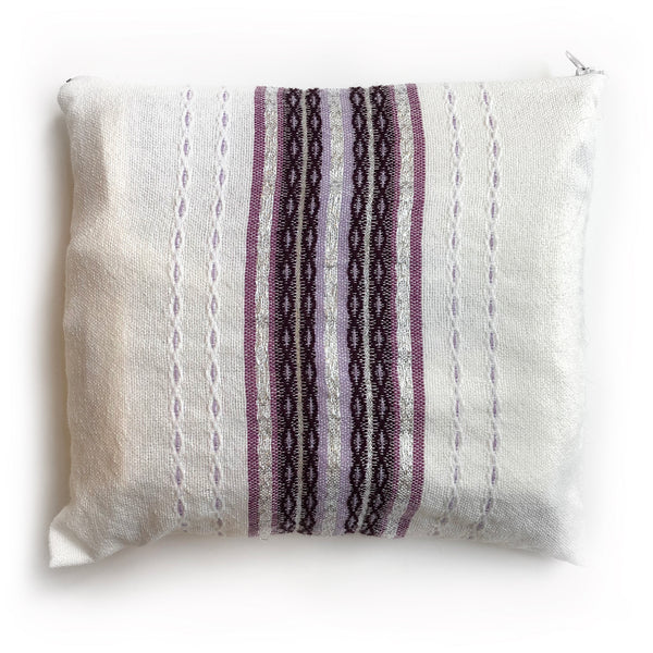 Gabrieli Premium - Wool - White with Purples & Silver