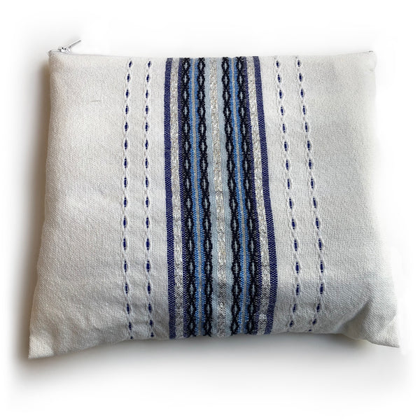 Gabrieli Premium - Wool Tallit - shades of Blue & Silver on White