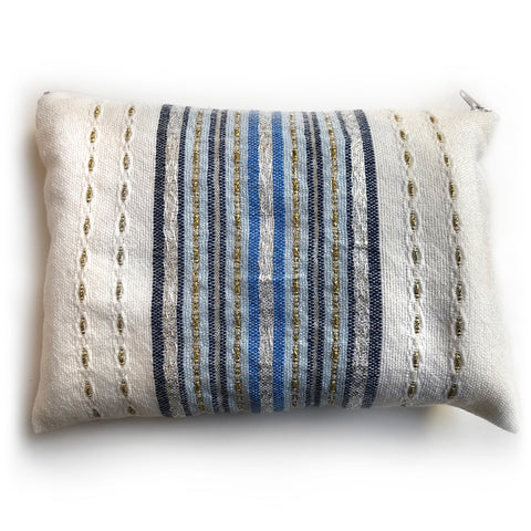 Gabrieli Premium - Wool - White with shades of Blue, Gold & Silver
