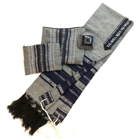 Gabrieli Premium - Wool Tallit - Blue & Silver on Gray