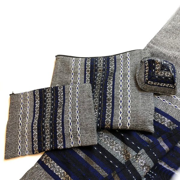 Gabrieli Premium - Wool - Gray with Blue & Silver