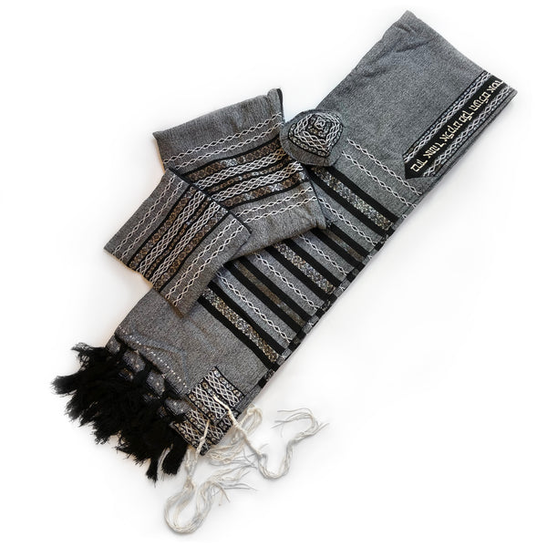 Gabrieli Premium - Wool - Gray with Black, White & Silver