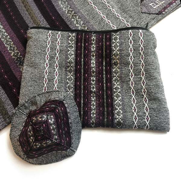 Gabrieli Premium - Wool - Gray with Purples & Silver