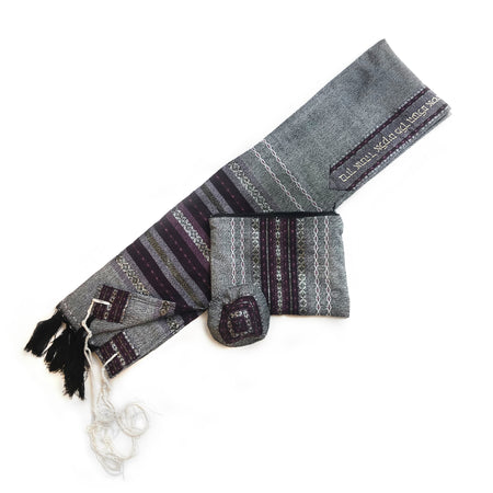 Gabrieli Premium - Wool Tallit - Purples & Silver on Gray
