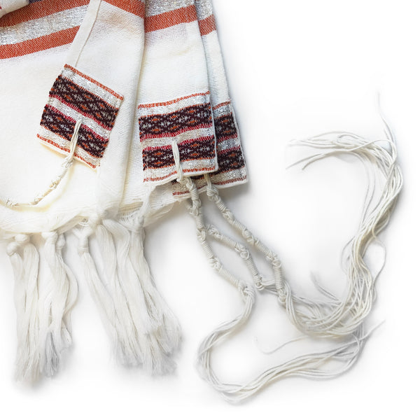 Gabrieli Premium - Wool Tallit - Red, Orange & Silver
