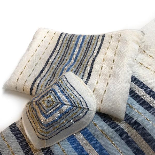 Gabrieli Premium - Wool Tallit - Shades of Blue, Gold & Silver on White