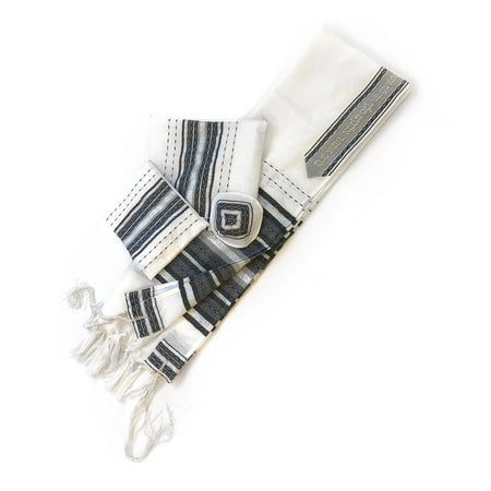 Gabrieli Premium - Wool - White with Gray & Silver
