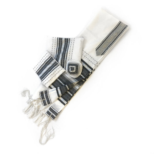 Gabrieli Premium - Wool Tallit - Gray & Silver on White