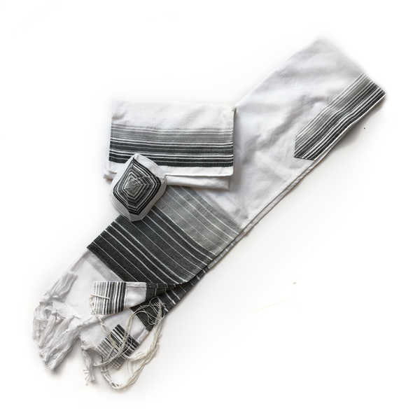 Ella - Cotton Tallit - Gray and Black Stripes with Silver on White