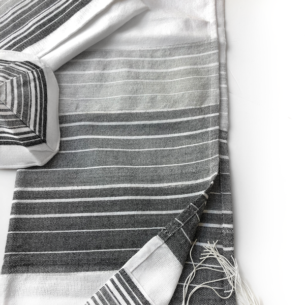 Cotton Gabrieli Tallit - White with Gray and Black Stripes and Silver