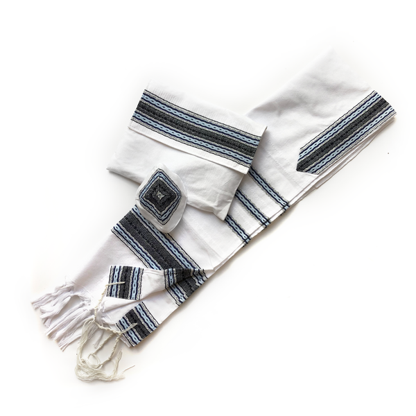 Cotton Gabrieli Tallit - Light Blue with Grey on White