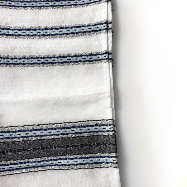 Adam - Cotton Tallit - Blues with Silver on White