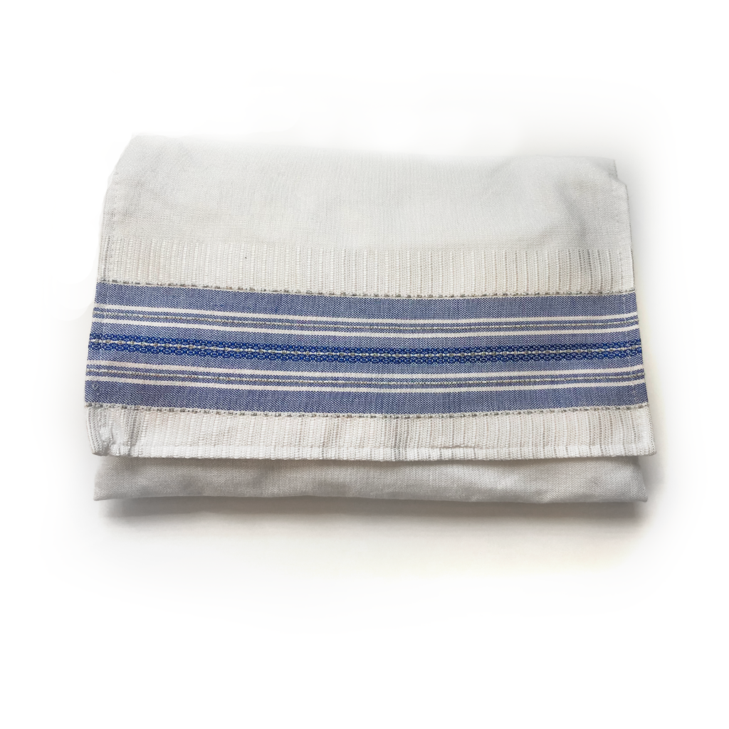 Gabrieli Silk Tallit- Classic Design - White and Blue with Silver