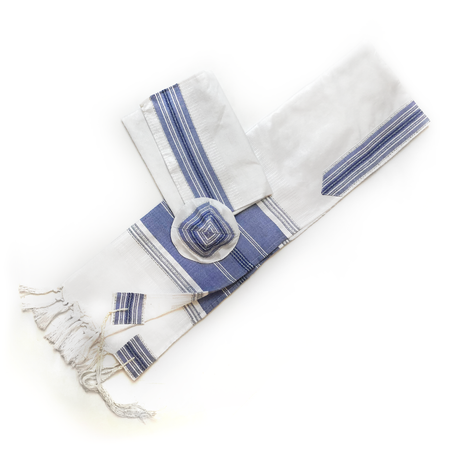 Elia - Silk Tallit - Blue with Silver on White