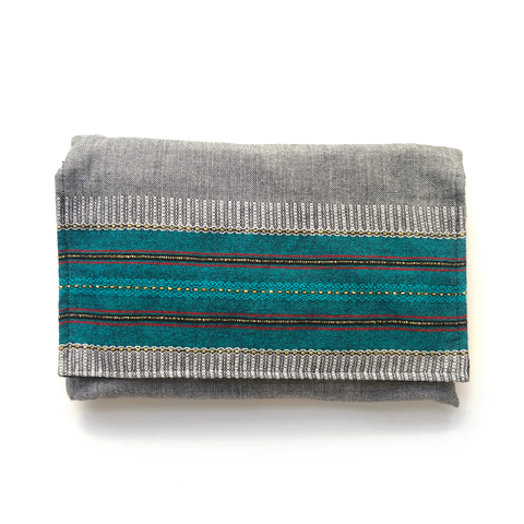 Cotton Gabrieli Tallit - Turquoise on Grey with Gold