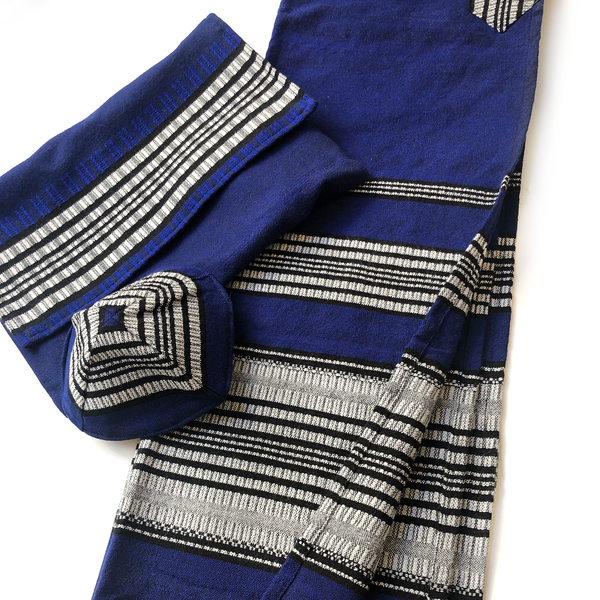 Yoel - Cotton Tallit - Grey and Black on Blue