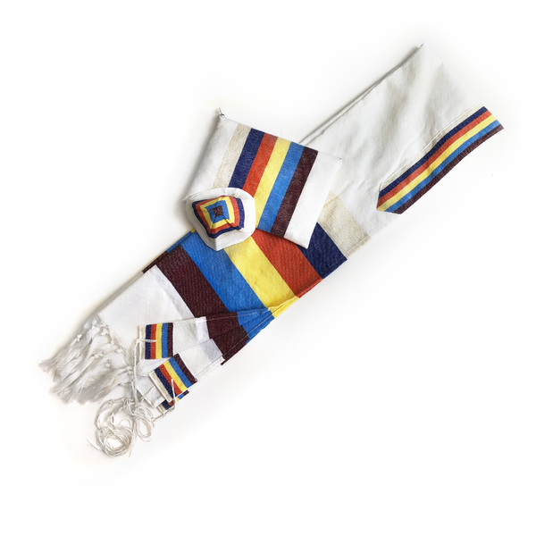 Adam - Wool Tallit - 6 Wide Stripes on White