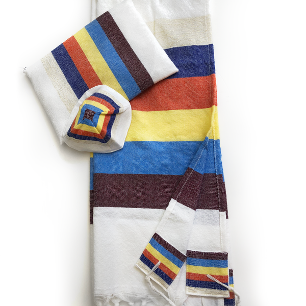 Emanuel - Wool Tallit - 6 Wide Stripes on White