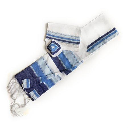 Cotton Gabrieli Tallit - 3 Blues and Silver on White - Wave Design