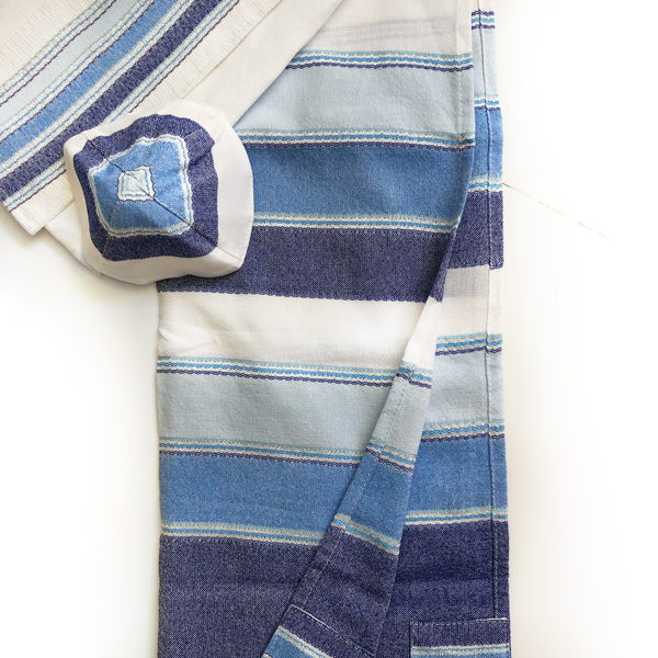 Noam - Cotton Tallit - 3 Blues and Silver on White