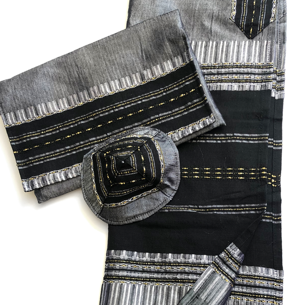 Gabrieli Silk Tallit- Gray with Black and Gold