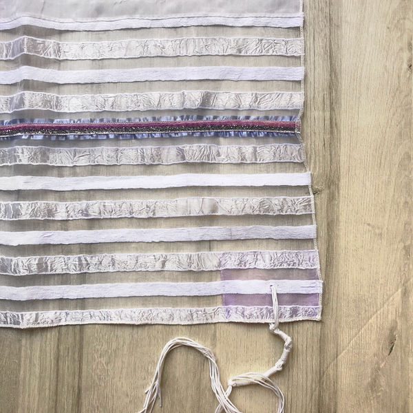 NEW - Lady Gabrieli Tallit - Voile with White Stripes, Purples and Silver