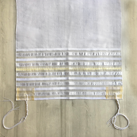 Lady Gabrieli Tallit - Voile with White Stripes and Gold