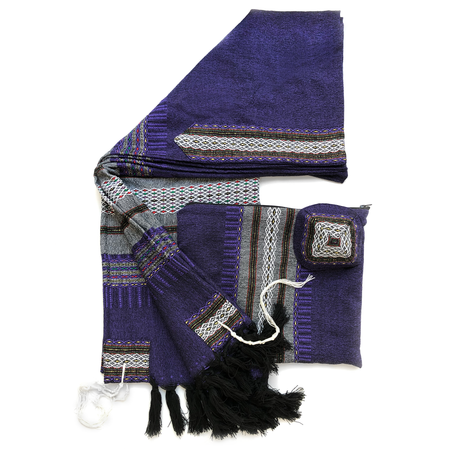 Wool Tallit - Dark Purple with Grey and Gold