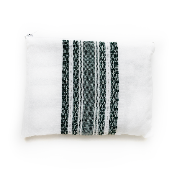 Wool Tallit  - White with Dark Green and Silver