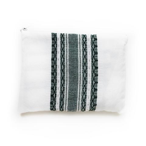 Samuel - Wool Tallit  - Dark Green and Silver on White