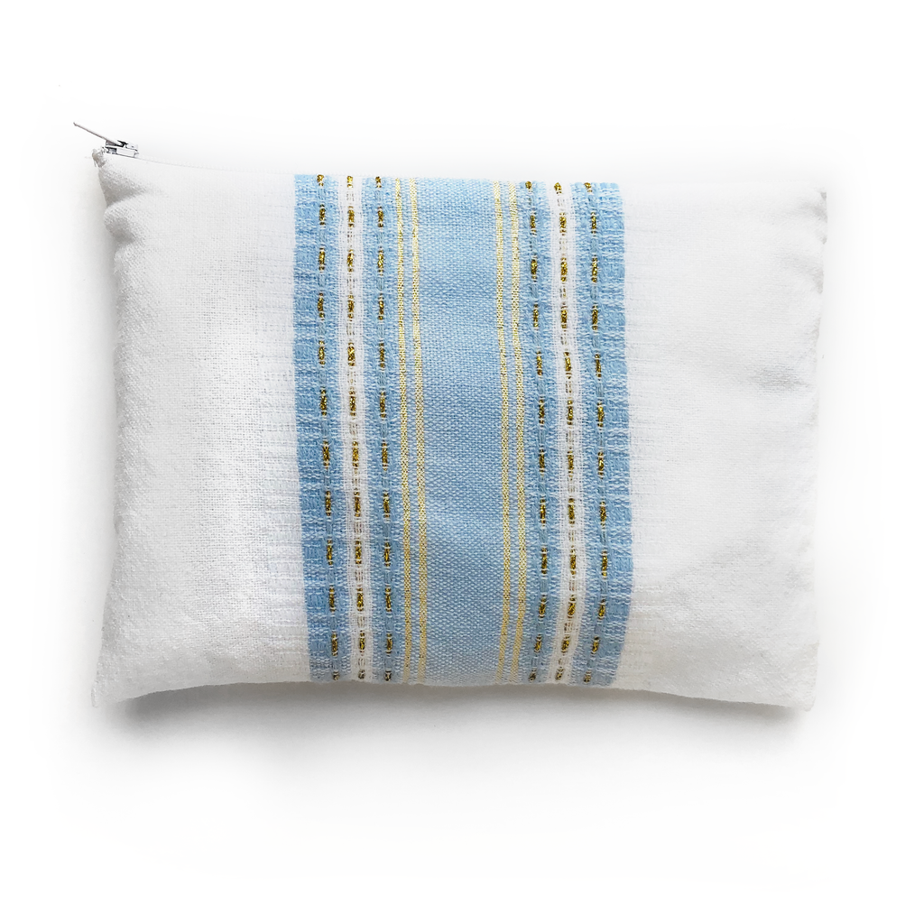 Samuel - Wool Tallit -Baby Blue with Gold on White