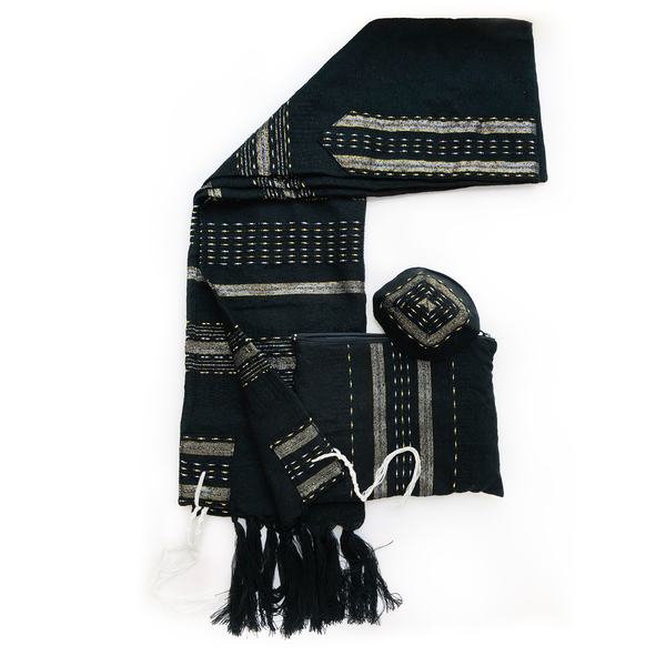 Wool Tallit - Black with Gold and Silver
