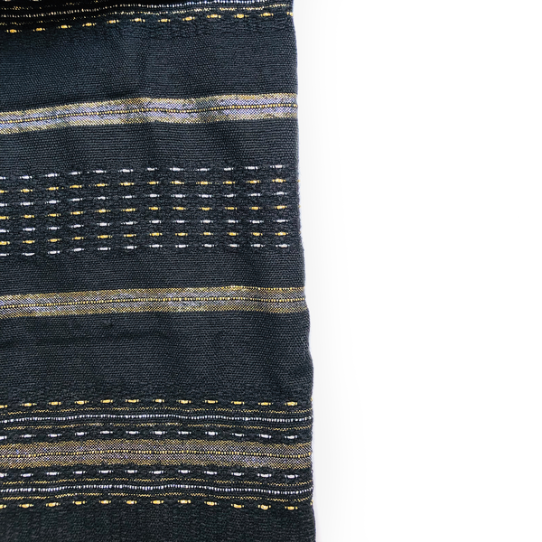 Elia - Wool Tallit - Gold and Silver on Black