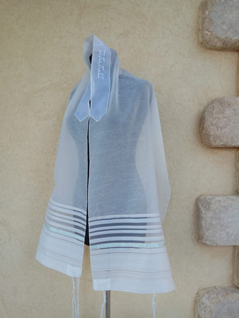 NEW - Lady Gabrieli Tallit - Voile with Lace and Mint