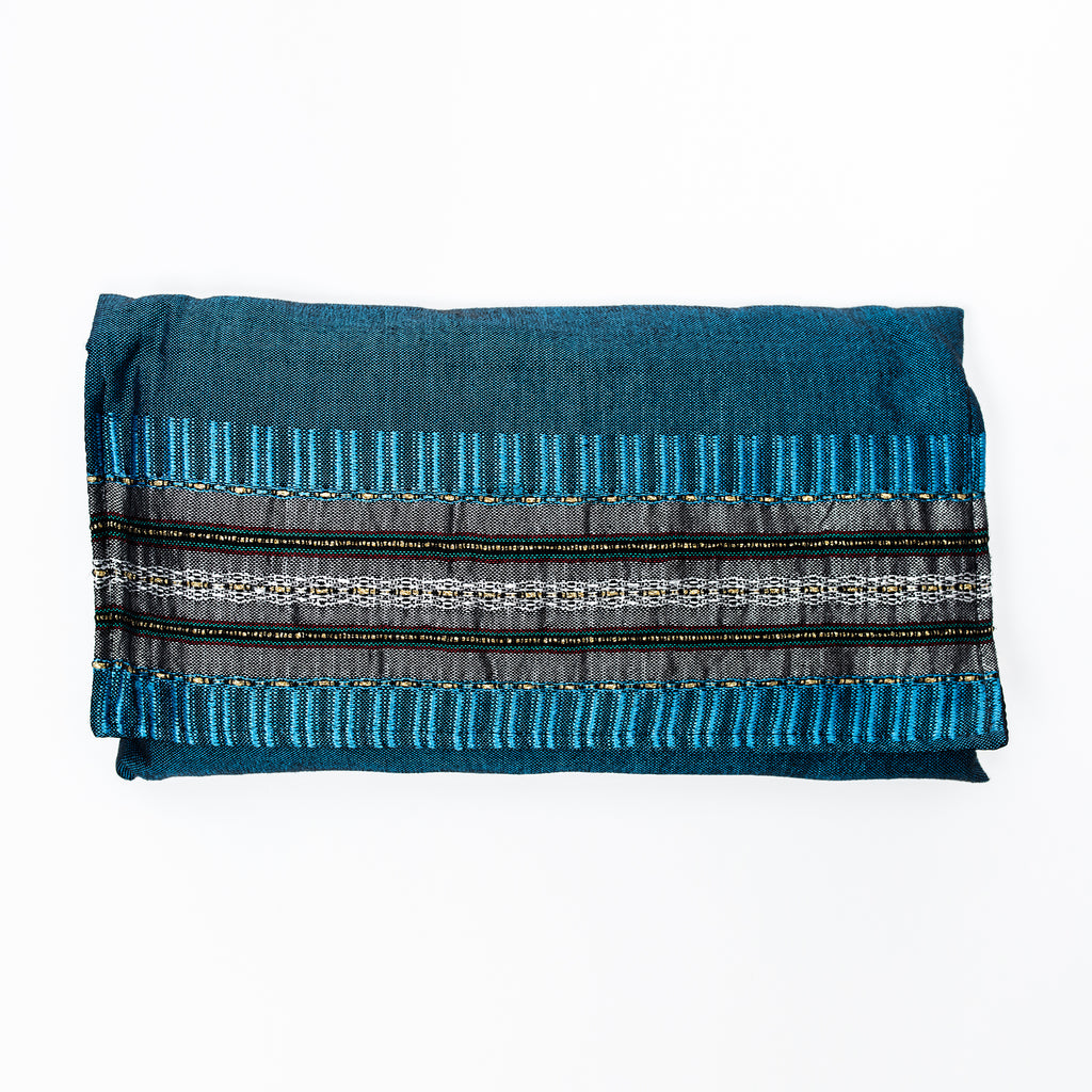 Elia - Silk Tallit - Gray with Gold on Blue