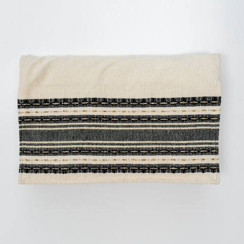 Samuel - Cotton Tallit - Black with Gold on Off-White