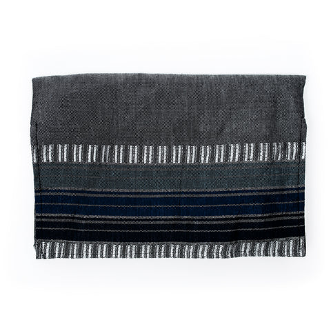 Matan - Silk Tallit- Gray with 3 Blues and Silver