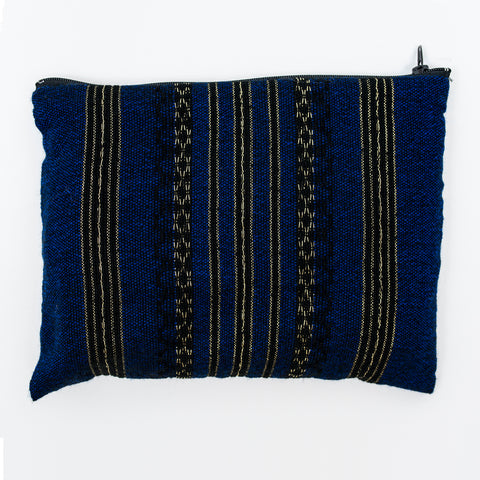 Hagar - Wool Tallit - Black and Gold Design on Blue
