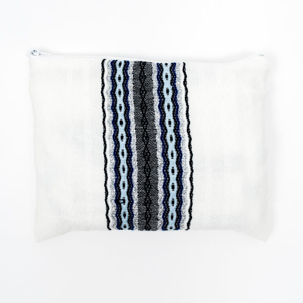 Adam - Wool Tallit  - Blues with Silver on White