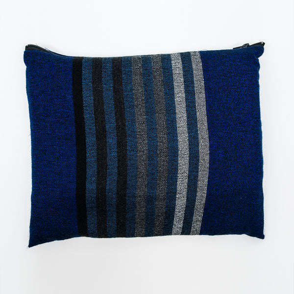 Gad - Wool Tallit - Grey scale Stripes on Blue