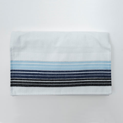 Ella - Cotton Tallit - Blue and Black Stripes with Silver on White