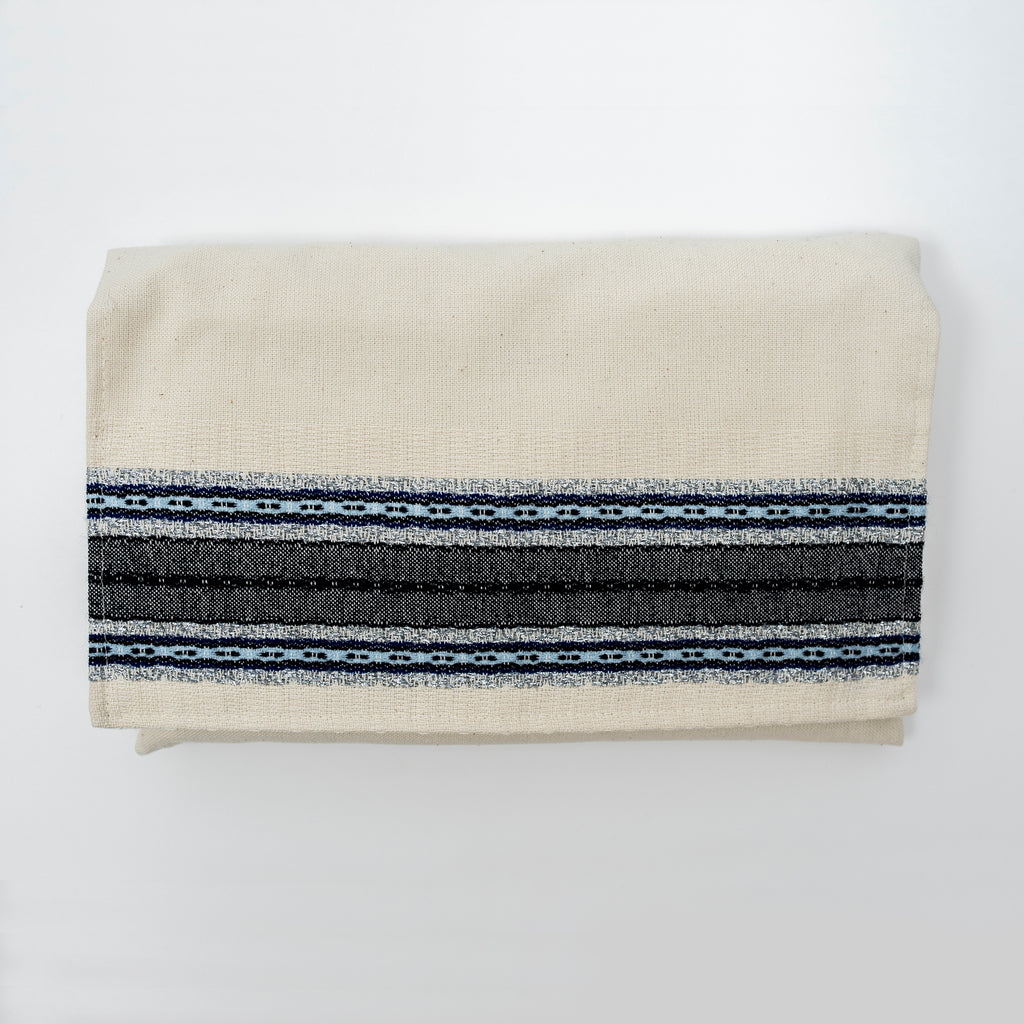 Adam - Cotton Tallit - Blues and Silver on Off-White