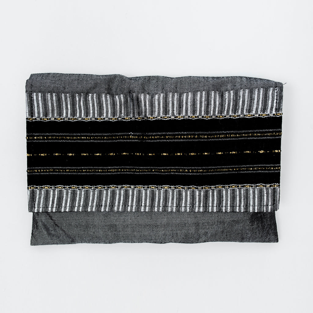 Elia - Silk Tallit- Gray with Gold on Gray
