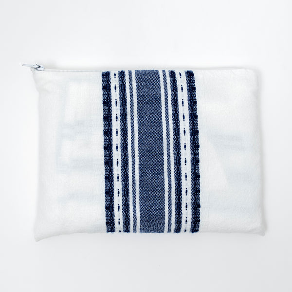 Samuel - Wool Tallit  - Blue on White