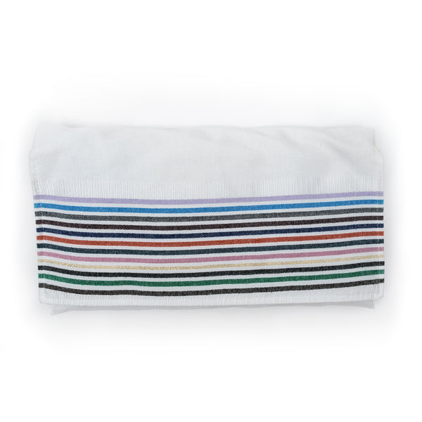Josef - Silk Tallit - 12 Stripes on White