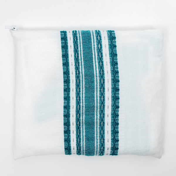 Samuel - Wool Tallit  - Turquoise and Silver on White