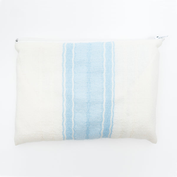 Adam - Wool Tallit - Baby Blue on White