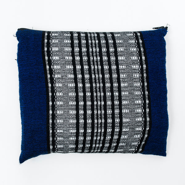 Yoel - Wool Tallit  - Black and Grays on Blue